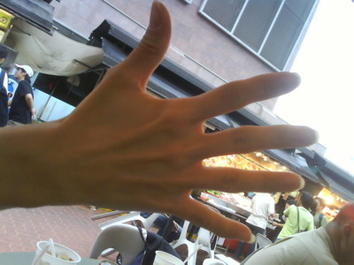 Sanny's hand - the most distinctive feature on her body. Hehe.